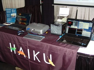 A closeup of the table at the Haiku booth.