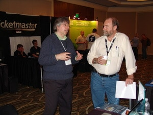 Here I am talking about Haiku with one of guys from the KDE booth.
