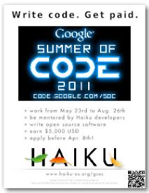 GSoC Haiku 2011 Flyer