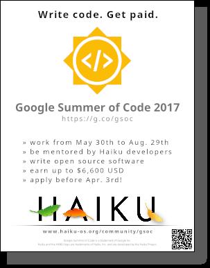 GSoC Haiku 2017 Flyer
