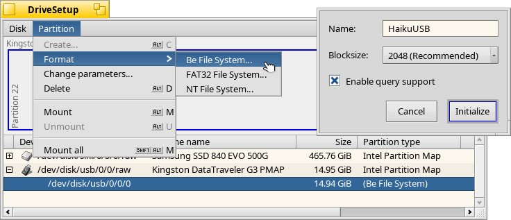 Format the new partition as BFS