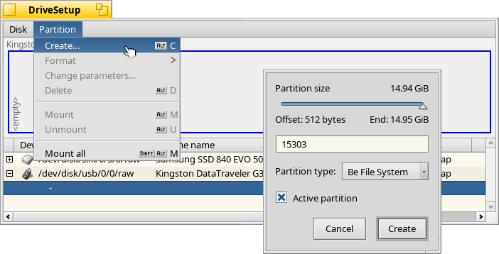 Create a BFS partition