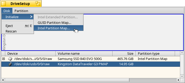 Create an Intel partition map