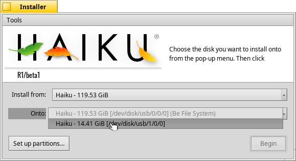 Install Haiku Onto the new partition