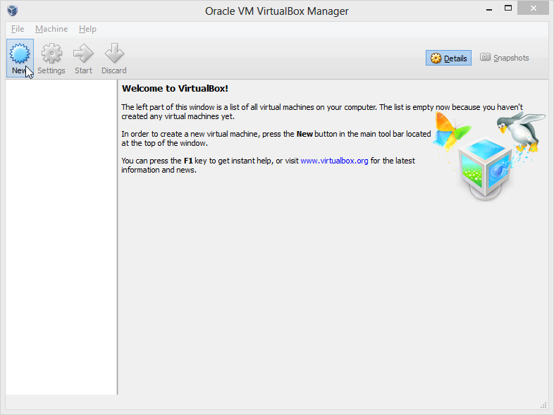 virtualBox's main window